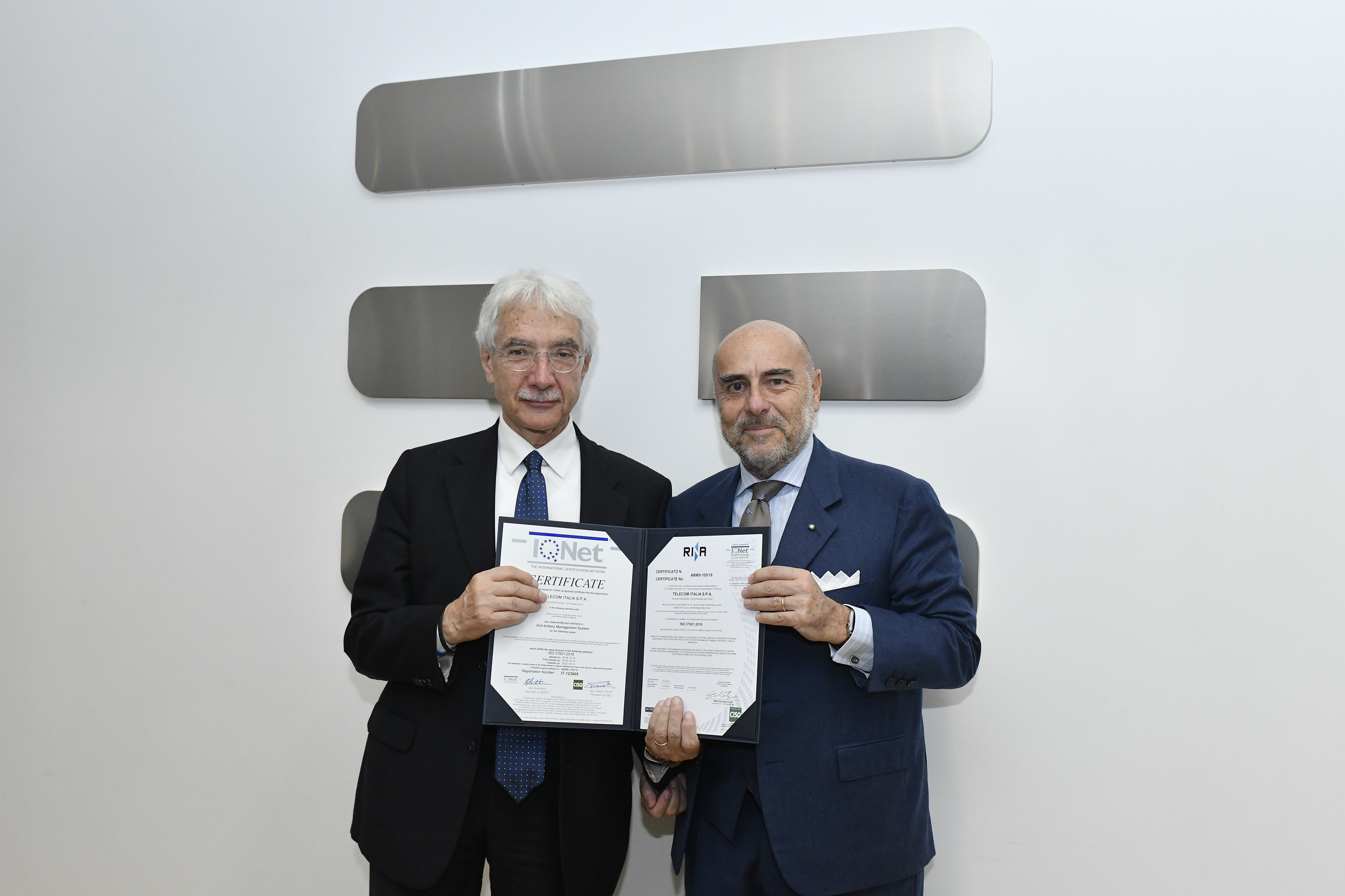 Salvatore Rossi TIM President and Ugo Salerno RINA CEO
